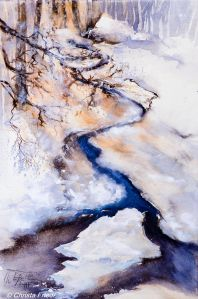 Schneeschmelze, watercolor, 56x38 cm